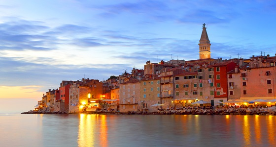 Rovinj with night-time lighting, Croatia