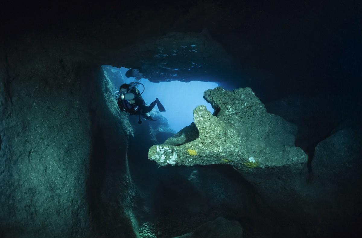 Italy, Campania, Marina di Camerota (Salerno Province), cave diving, Alabaster Cave entrance - FILM SCAN